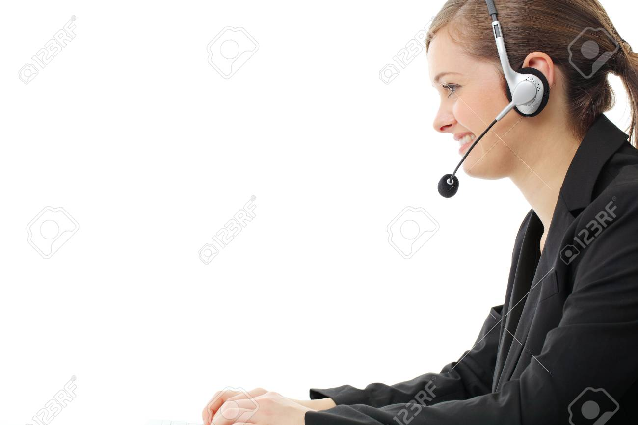 Customer service operator woman with headset, isolated on white background. Stock Photo - 13121450