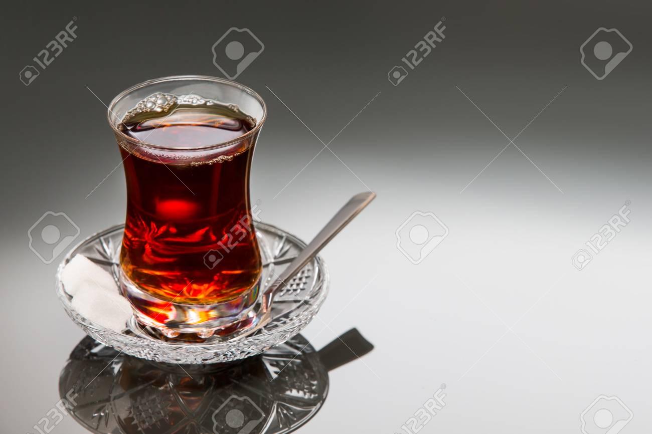 Black tea in tulip glass - Turkish culture