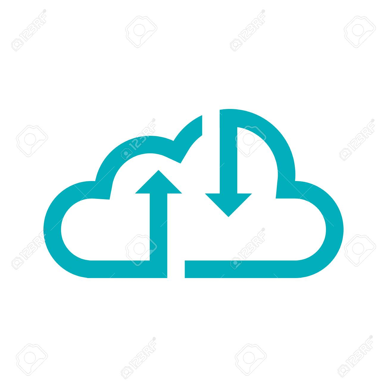 Green cloud icon with up and down arrows, for data storage statistics,