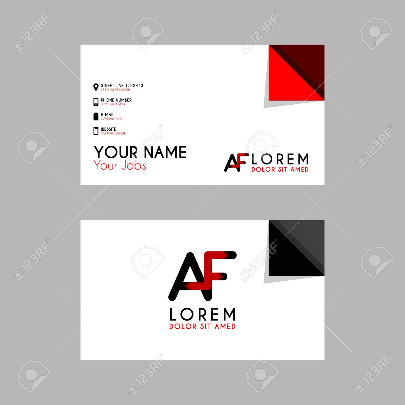 Modern Creative Business Card Template With Af Ribbon Letter