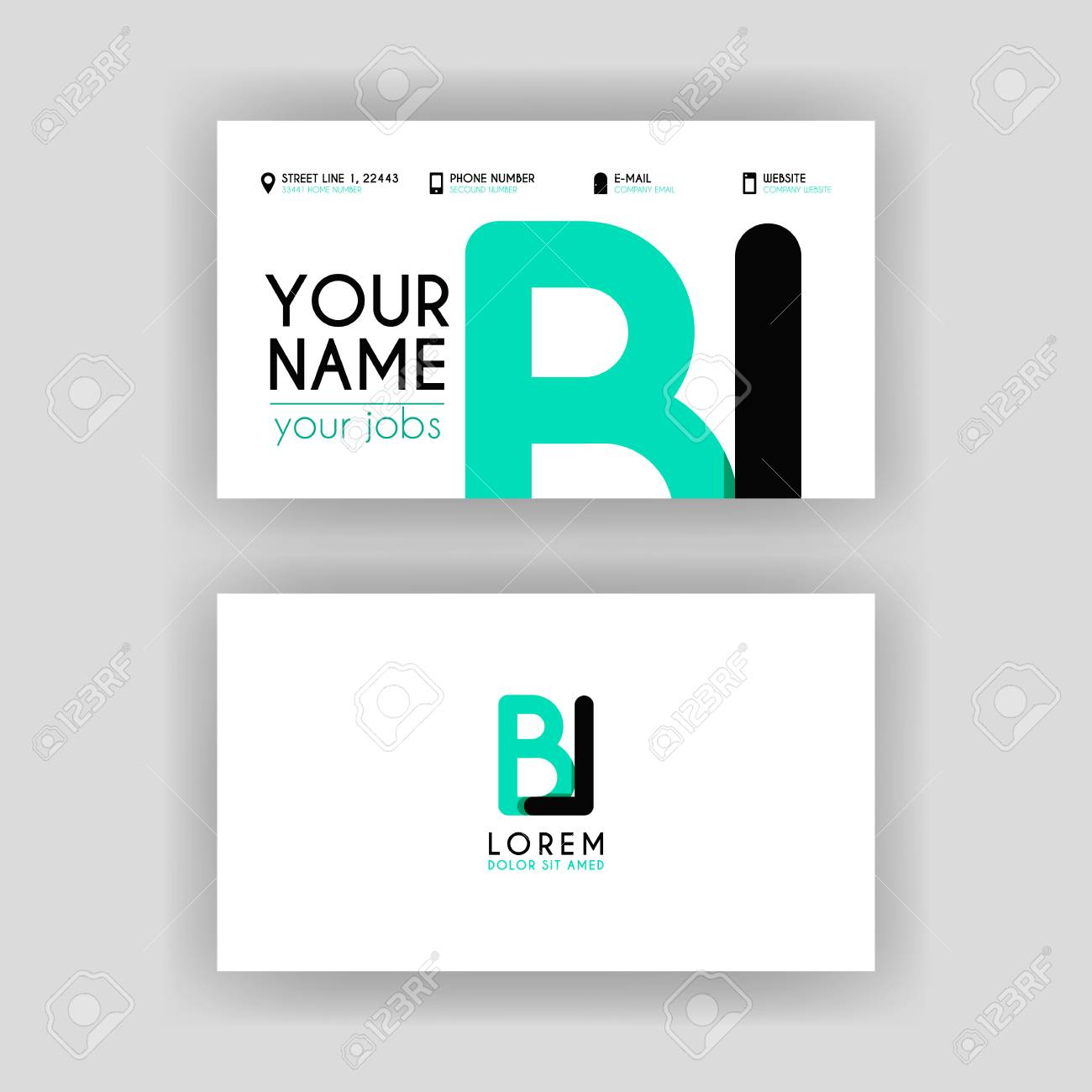 Simple Business Card With Initial Letter BL Rounded Edges Royalty ...
