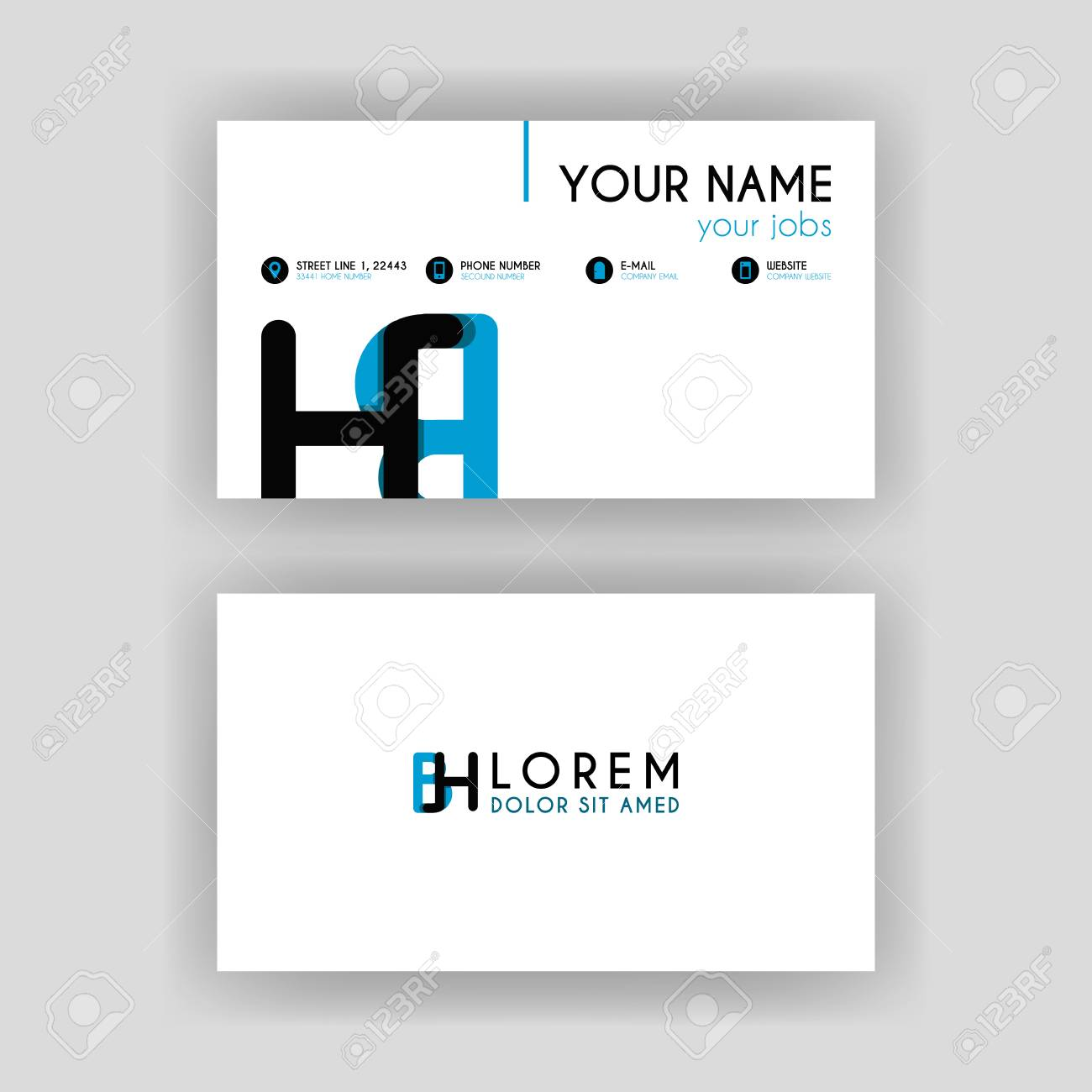 Simple Business Card With Initial Letter Bh Rounded Edges Royalty