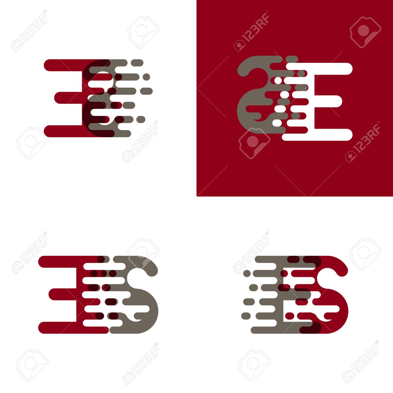 ES letters logo with accent speed in drak red and gray - 99030083