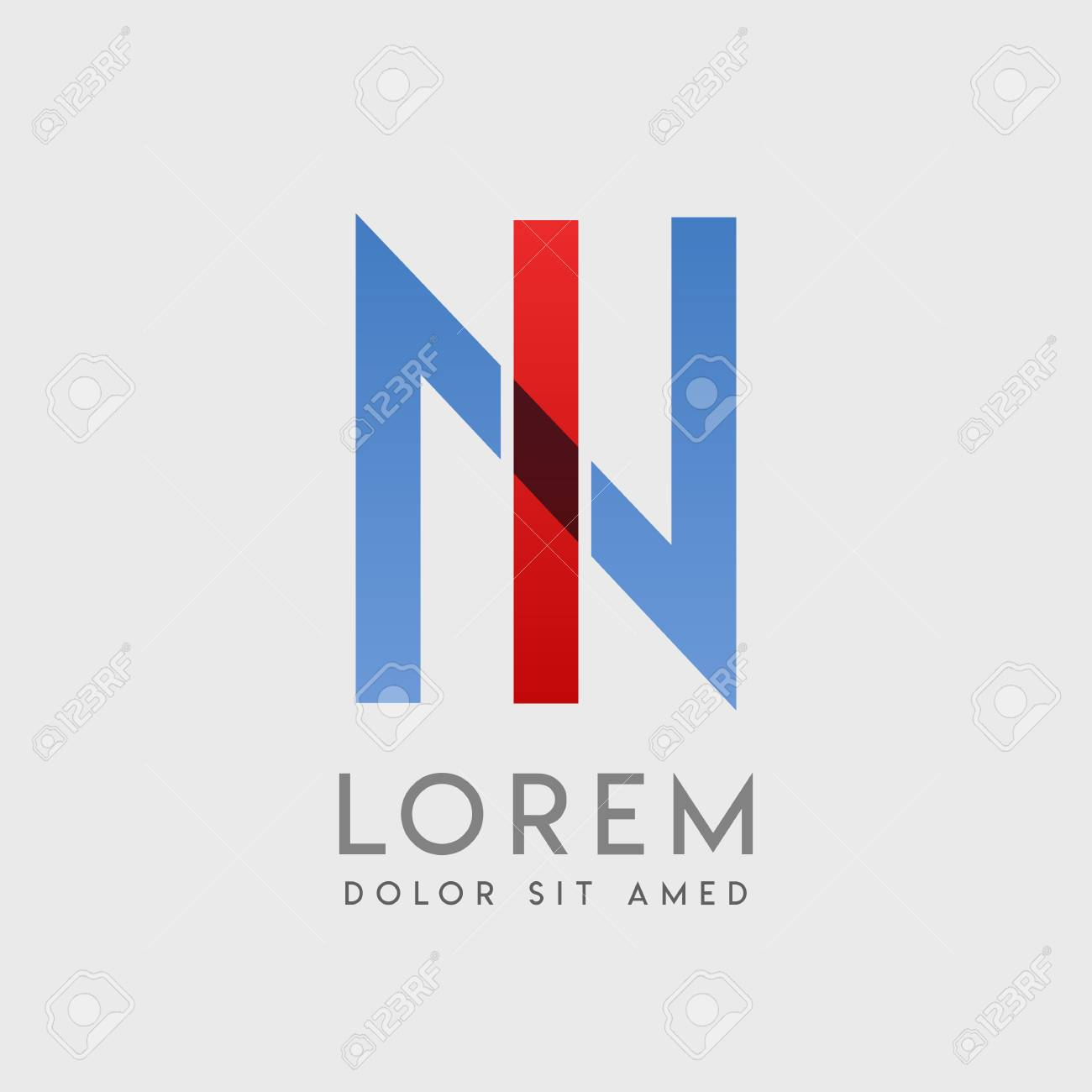 """IN logo letters with """"blue and red"""" gradation - 99153152"""