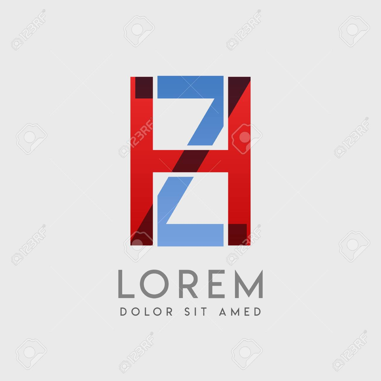 """HZ logo letters with """"blue and red"""" gradation - 99153189"""
