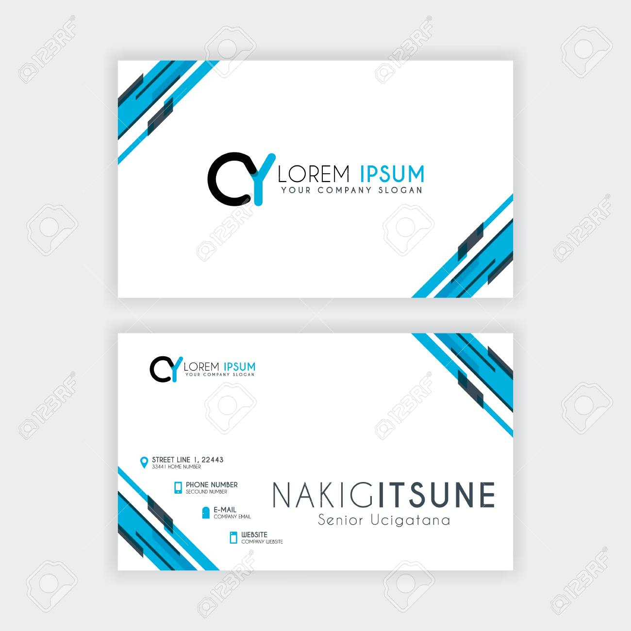 Simple Business Card With Initial Letter Cy Rounded Edges With
