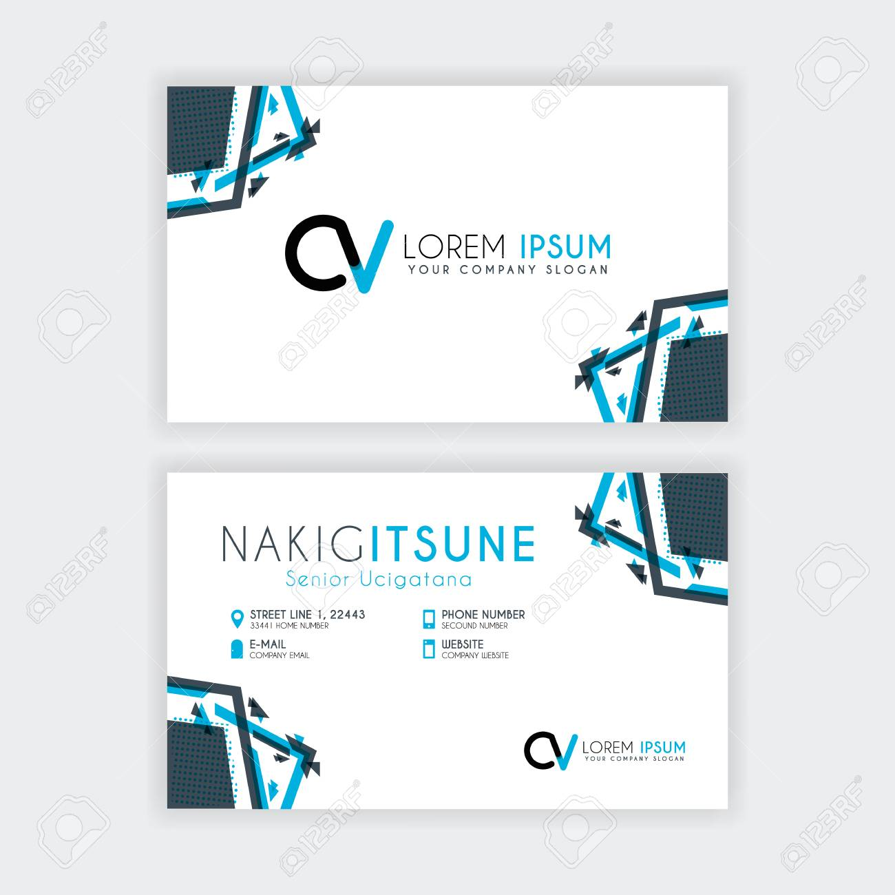 Simple Business Card With Initial Letter Cv Rounded Edges With