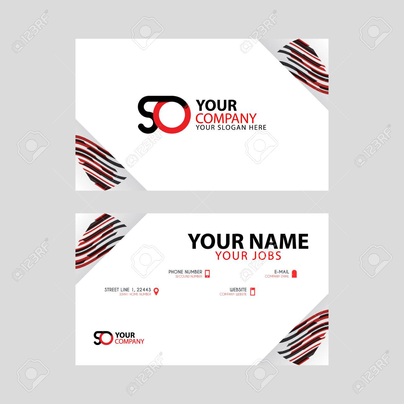 Horizontal name card with decorative accents on the edge and bonus SO logo in black and red. - 106168709