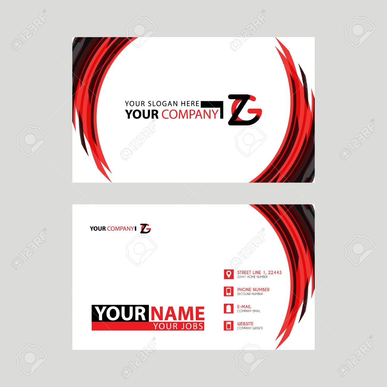Modern business card templates with zg logo letter and horizontal modern business card templates with zg logo letter and horizontal design and red and black wajeb Gallery