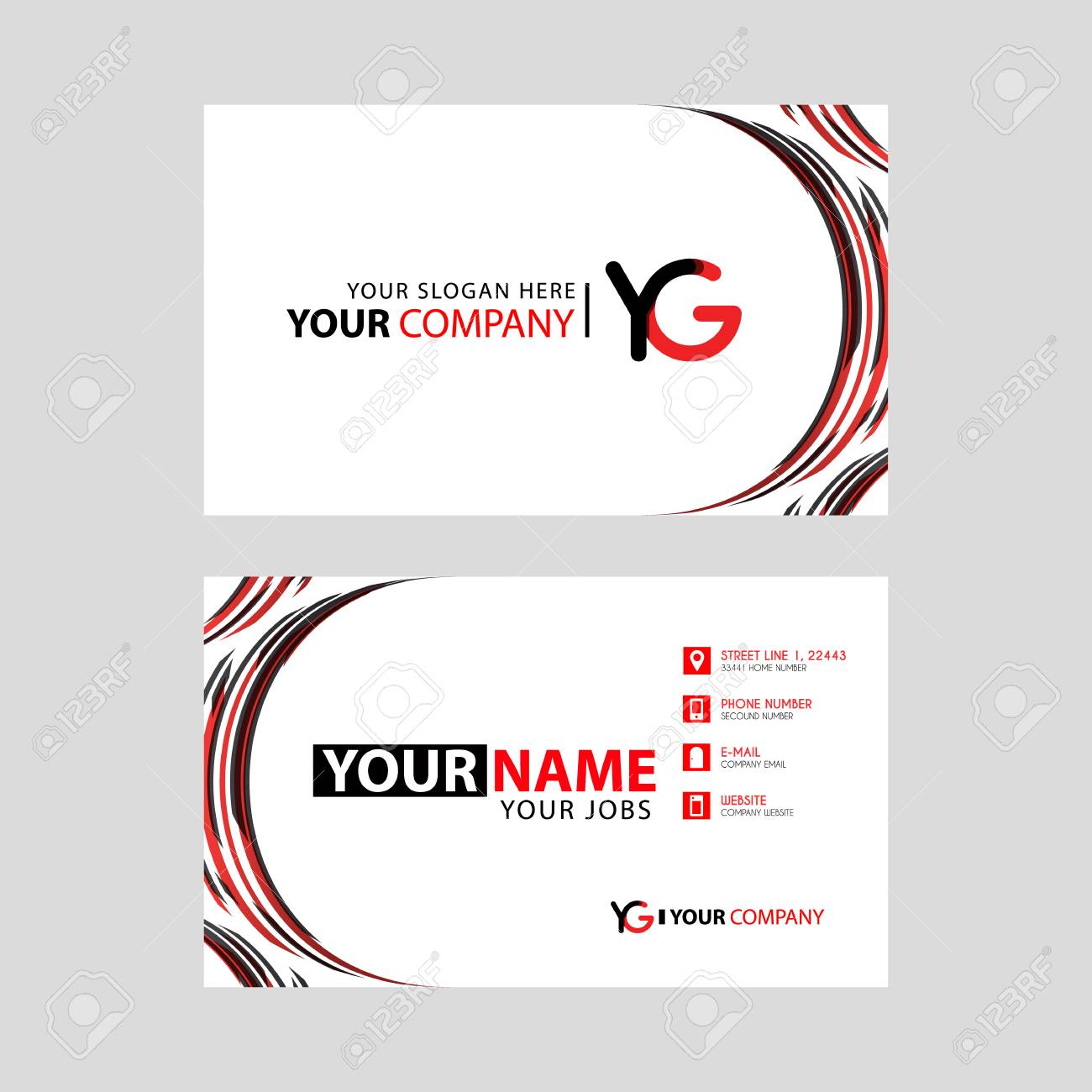 Letter YG logo in black which is included in a name card or simple business card with a horizontal template. - 106169158
