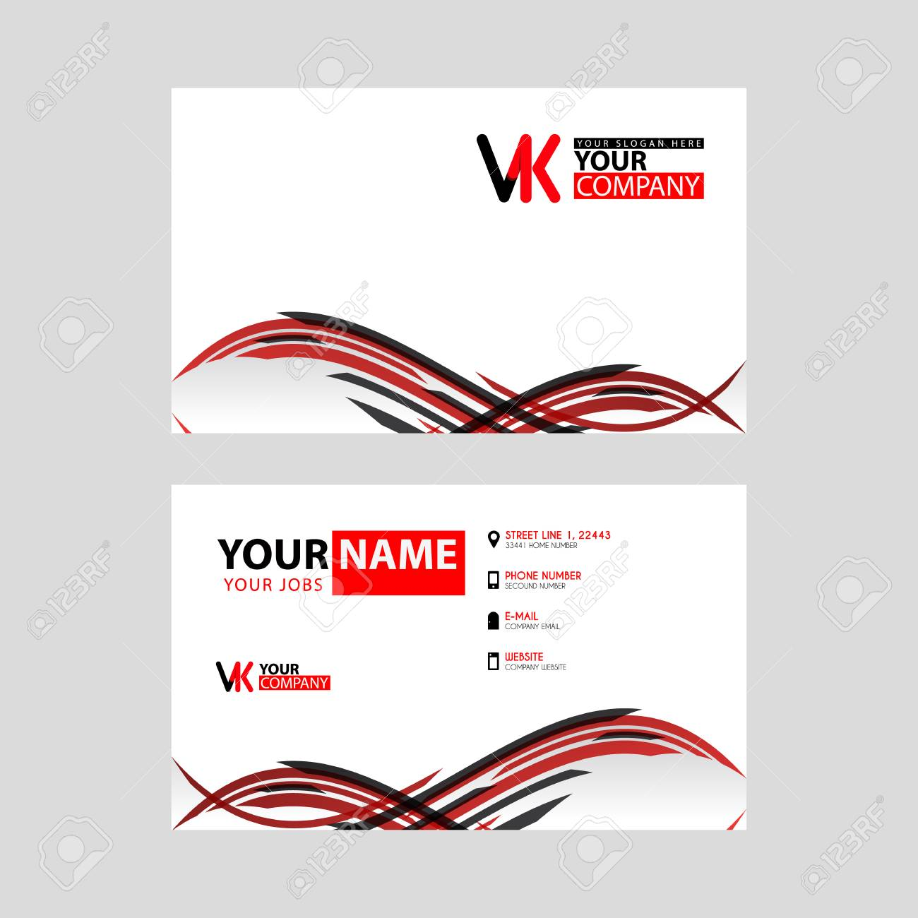 Horizontal Name Card With VK Logo Letter And Simple Red