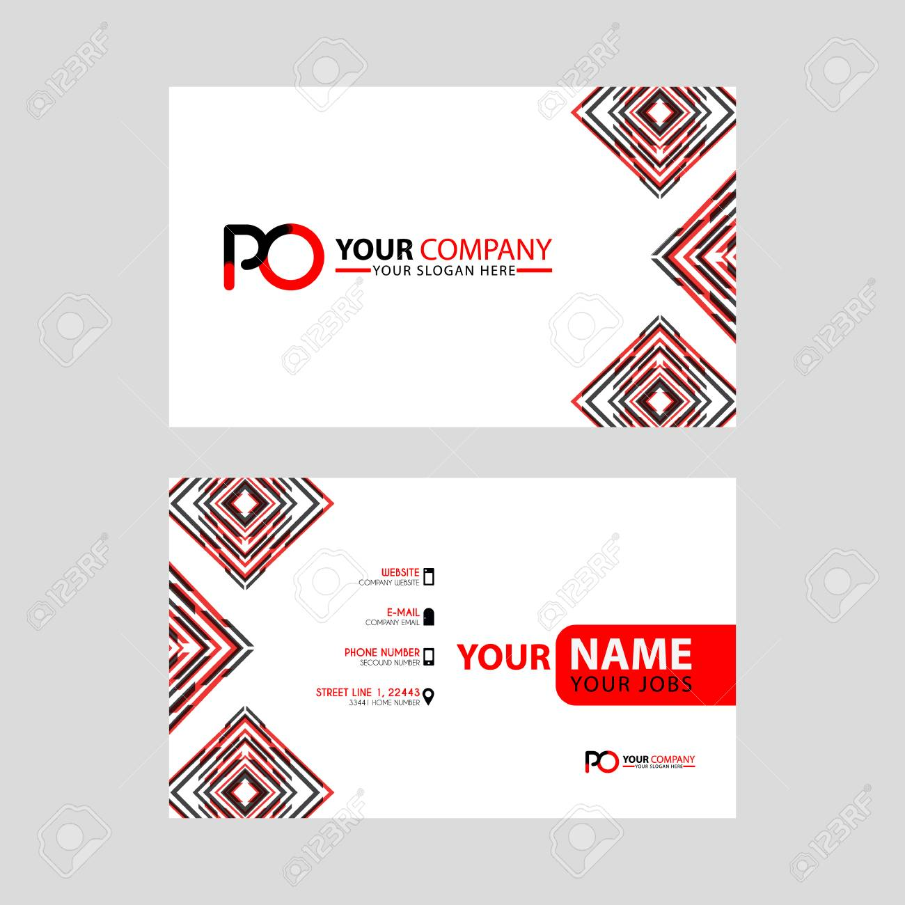 Modern Business Card Templates With Po Logo Letter And Horizontal