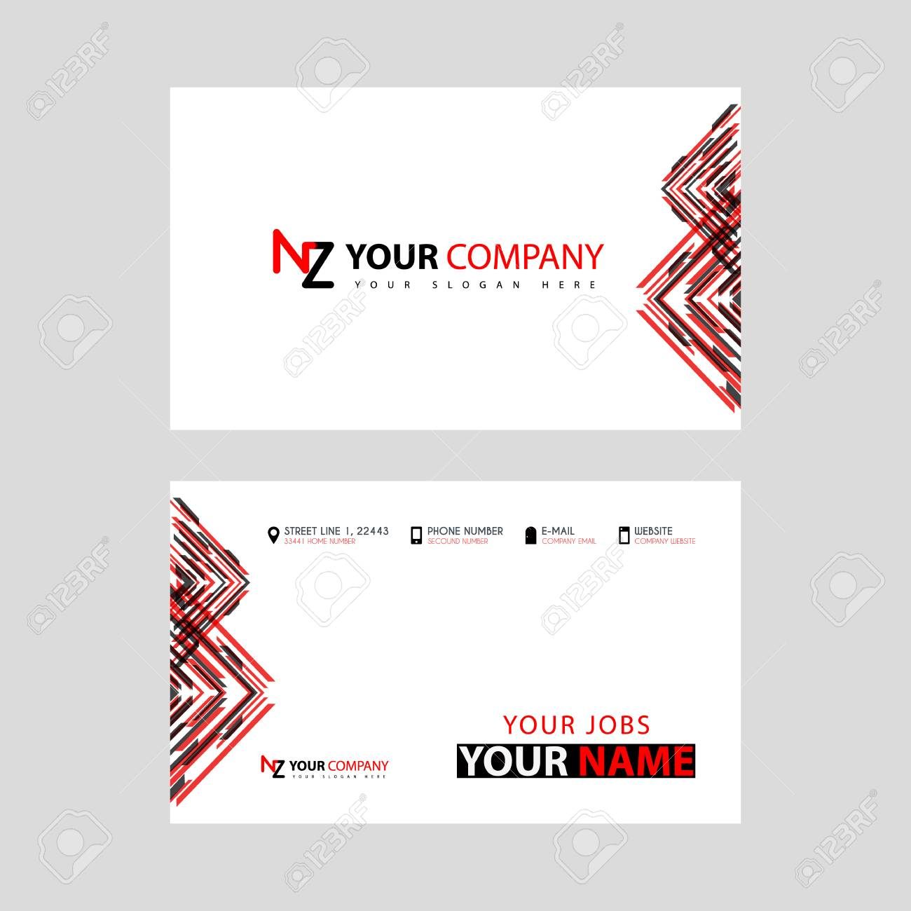 Business card template in black and red with a flat and horizontal business card template in black and red with a flat and horizontal design plus the reheart Gallery
