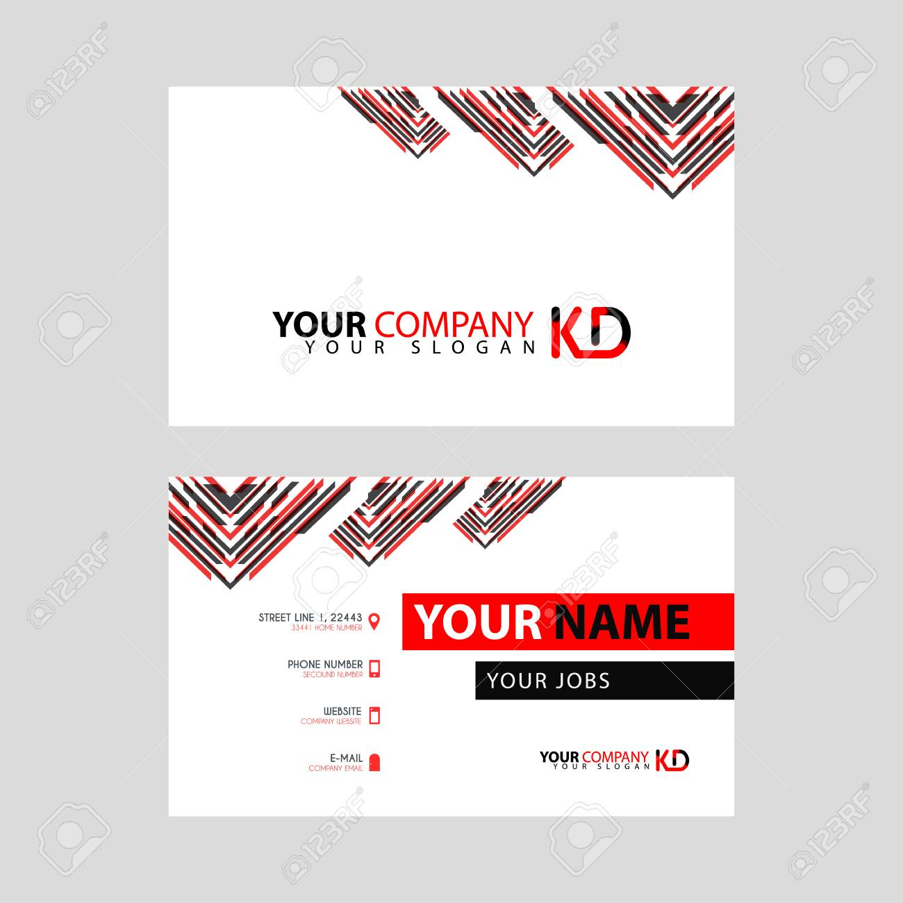 The new simple business card is red black with the KD logo Letter bonus and horizontal modern clean template vector design. - 106310137