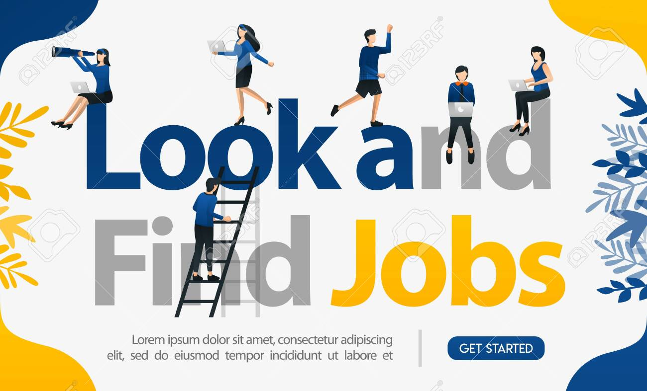 Promotion to find workers. with the words Look and Find Jobs, concept vector ilustration. can use for landing page, template, ui, web, mobile, poster, banner, flyer, background, website, advertisement - 123162148