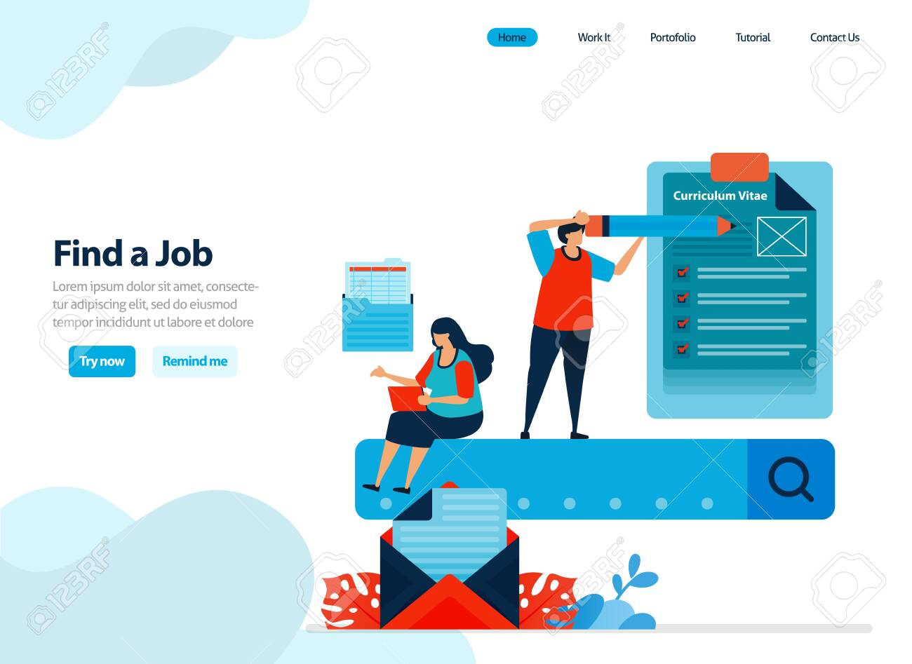 Website Design Of Looking For Work And Finding Employees Jobs Royalty Free Cliparts Vectors And Stock Illustration Image 141953018