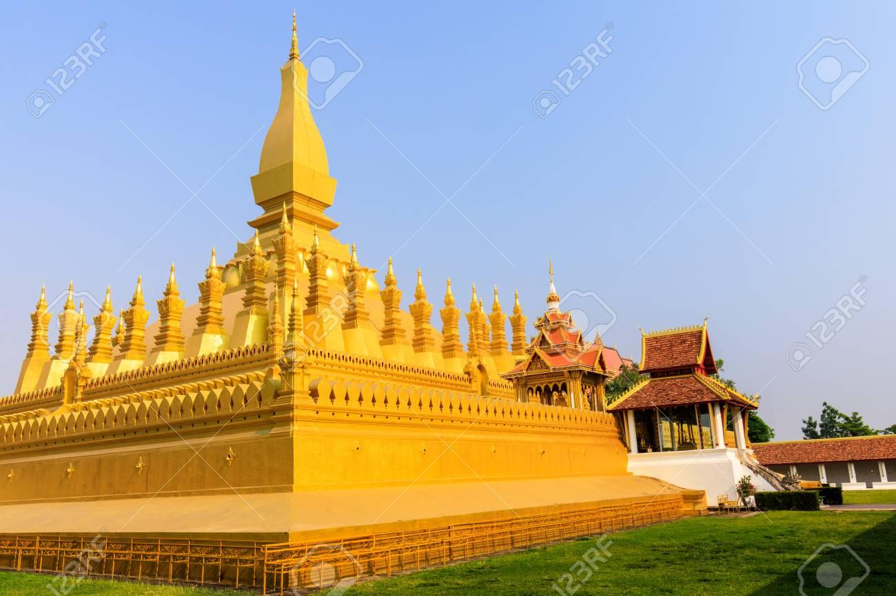 Pha That Luang a gold buddhist stupa, landmark of Vientiane, Laos PDR. - 103946173