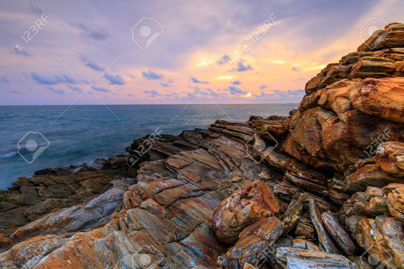 Colorful sunset on the sea in Khaoleamya-mookoh samet national park Rayong province, Thailand. - 103946028
