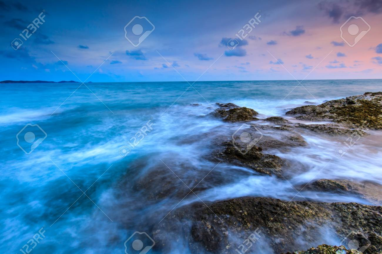Colorful sunset on the sea in Khaoleamya-mookoh samet national park Rayong province, Thailand. - 103946035