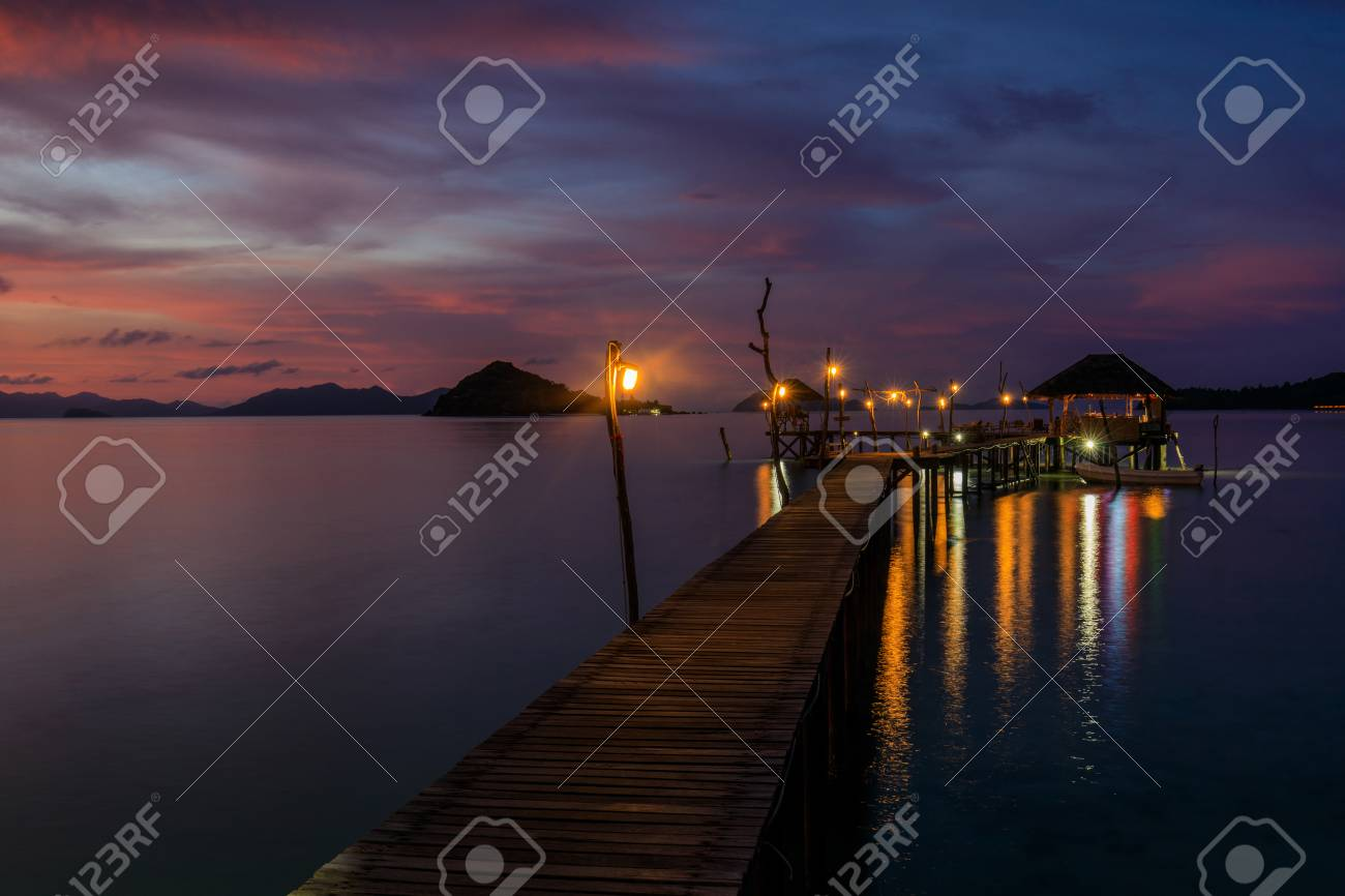 Colorful sunset on the sea in Koh Mak island, Trat province, Thailand. - 106342763