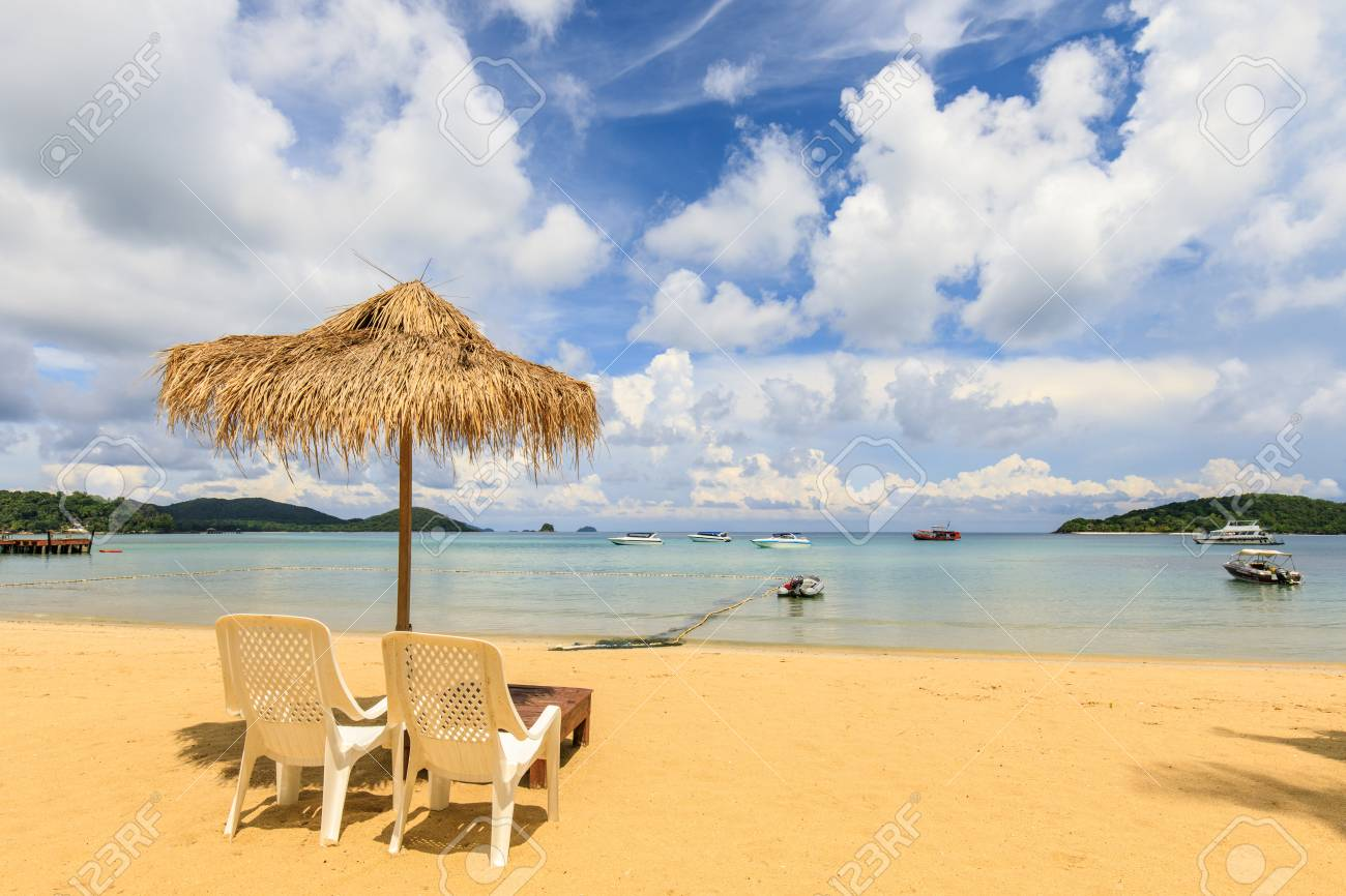 Umbrella and chair on the tropical beach in Koh Mak island, Trat province,Thailand - 106342796