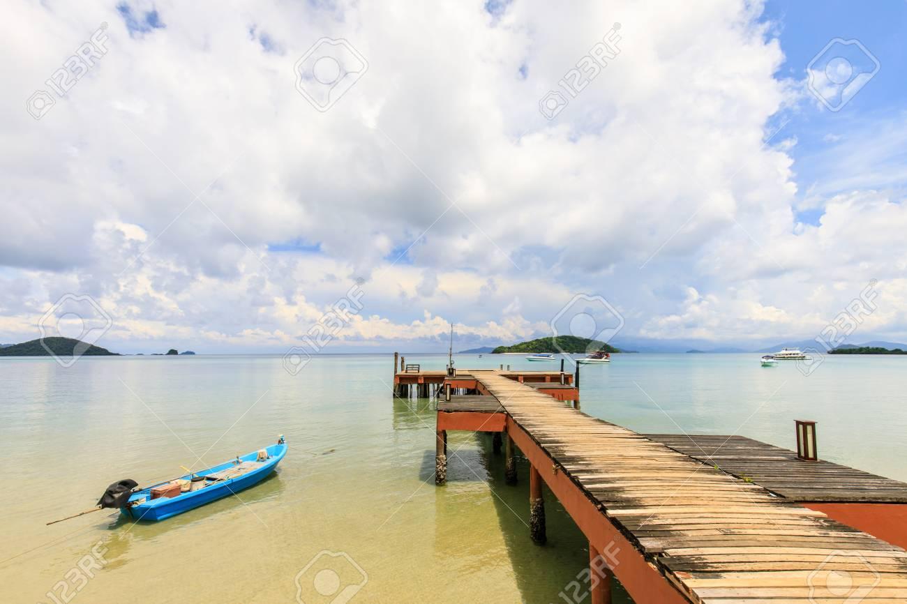 wooden bridge on tropical beach in Koh Mak island, Trat province,Thailand - 106342866