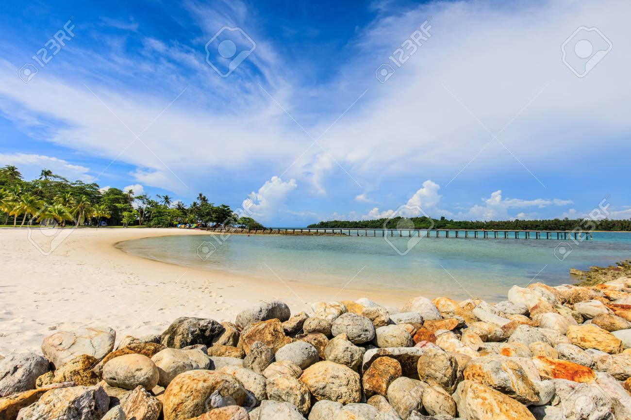 White sand and blue sky in tropical beach in Koh Mak island, Trat province,Thailand - 106342881