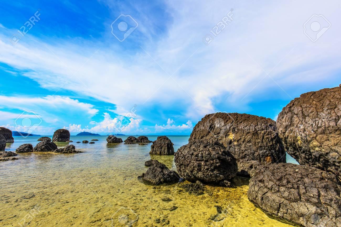 Beautiful volcanic rocks along the beach in Koh Mak island, Trat province,Thailand - 106342905