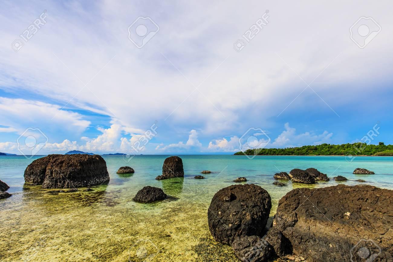 Beautiful volcanic rocks along the beach in Koh Mak island, Trat province,Thailand - 106342959