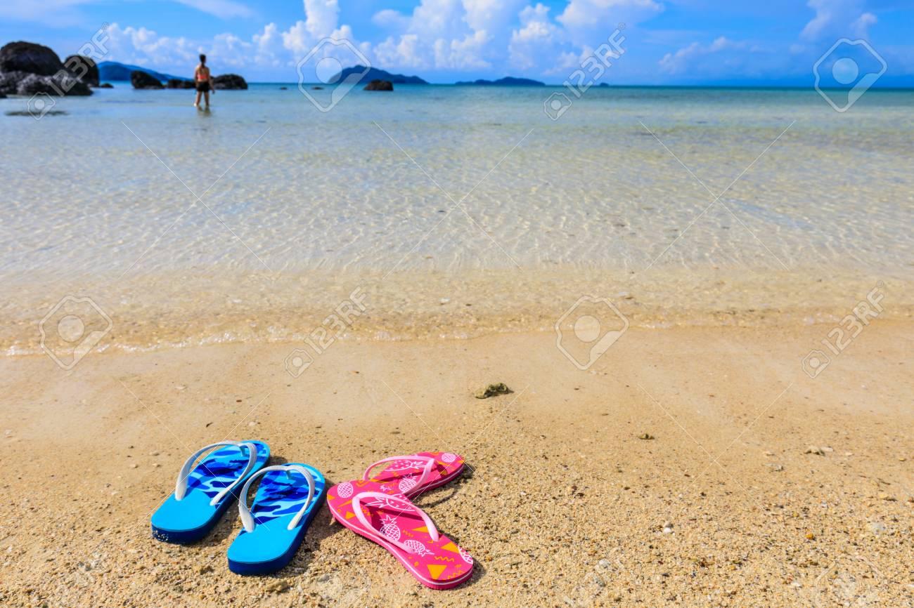 Sandals on the beach in Koh Mak island, Trat province,Thailand. - 106342961