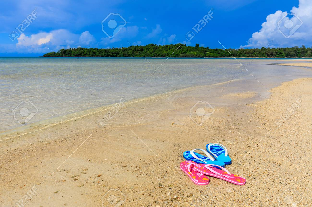 Sandals on the beach in Koh Mak island, Trat province,Thailand. - 106342962