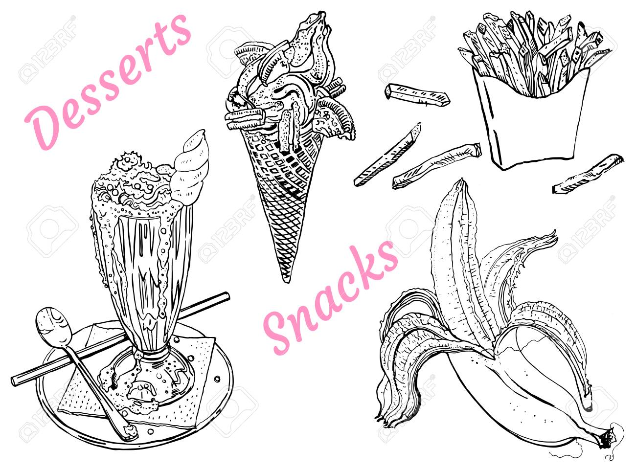 snacks and desserts milk shake ice cream banana french fries line art outline coloring page isolated