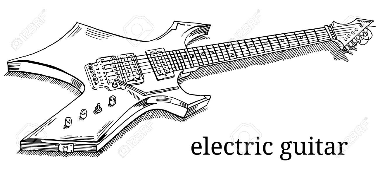 Close Up Of Lying Electric Guitar Line Art Outline Coloring Royalty Free Cliparts Vectors And Stock Illustration Image 103300812