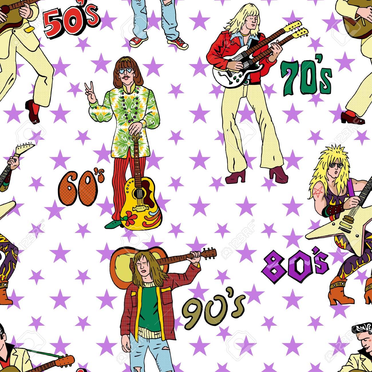 Rock stars seamless pattern  Popular 20th century rock music
