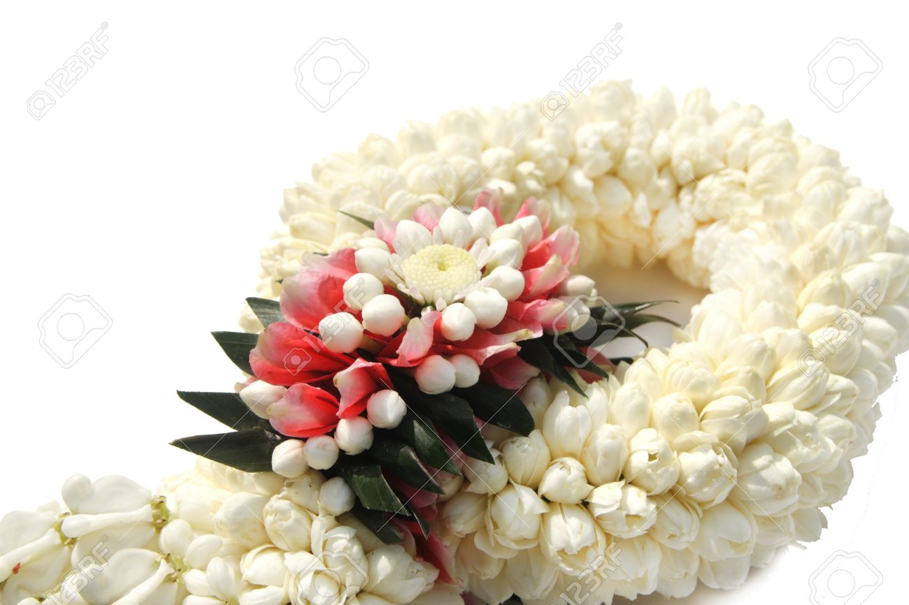 Thai Treditional Style Garland Flower In White Background Stock ...
