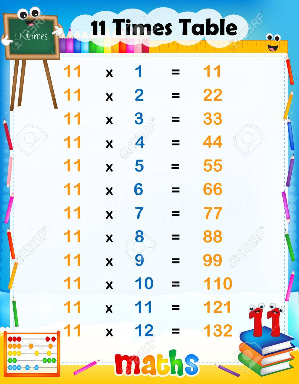 worksheet 11 Times Table illustration of a cute and colorful mathematical times table with answers 11 stock