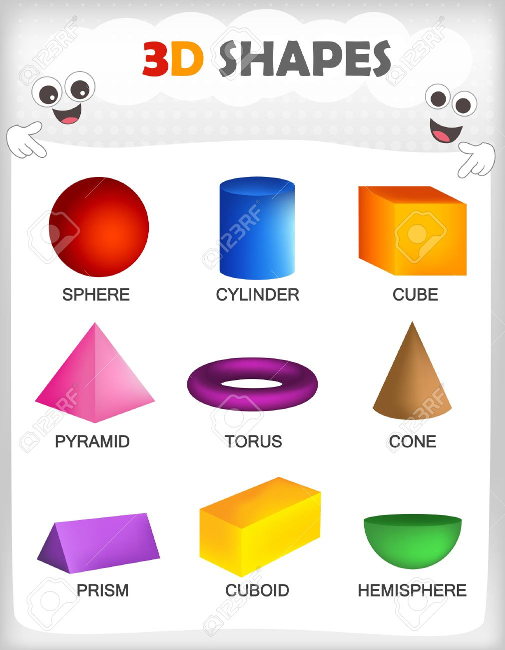 photograph about Printable 3d Shapes referred to as Printable sheet of a range of colourful 3D styles with their..