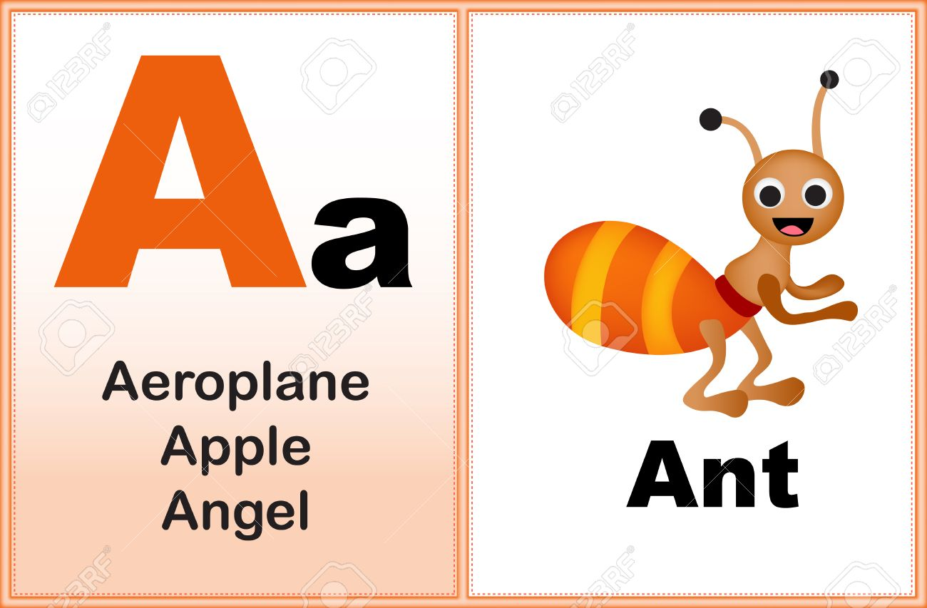 Alphabet letter A with clip-art and few similar words starting..