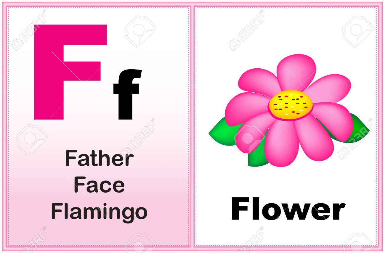 Alphabet letter F with clip-art and few similar words starting