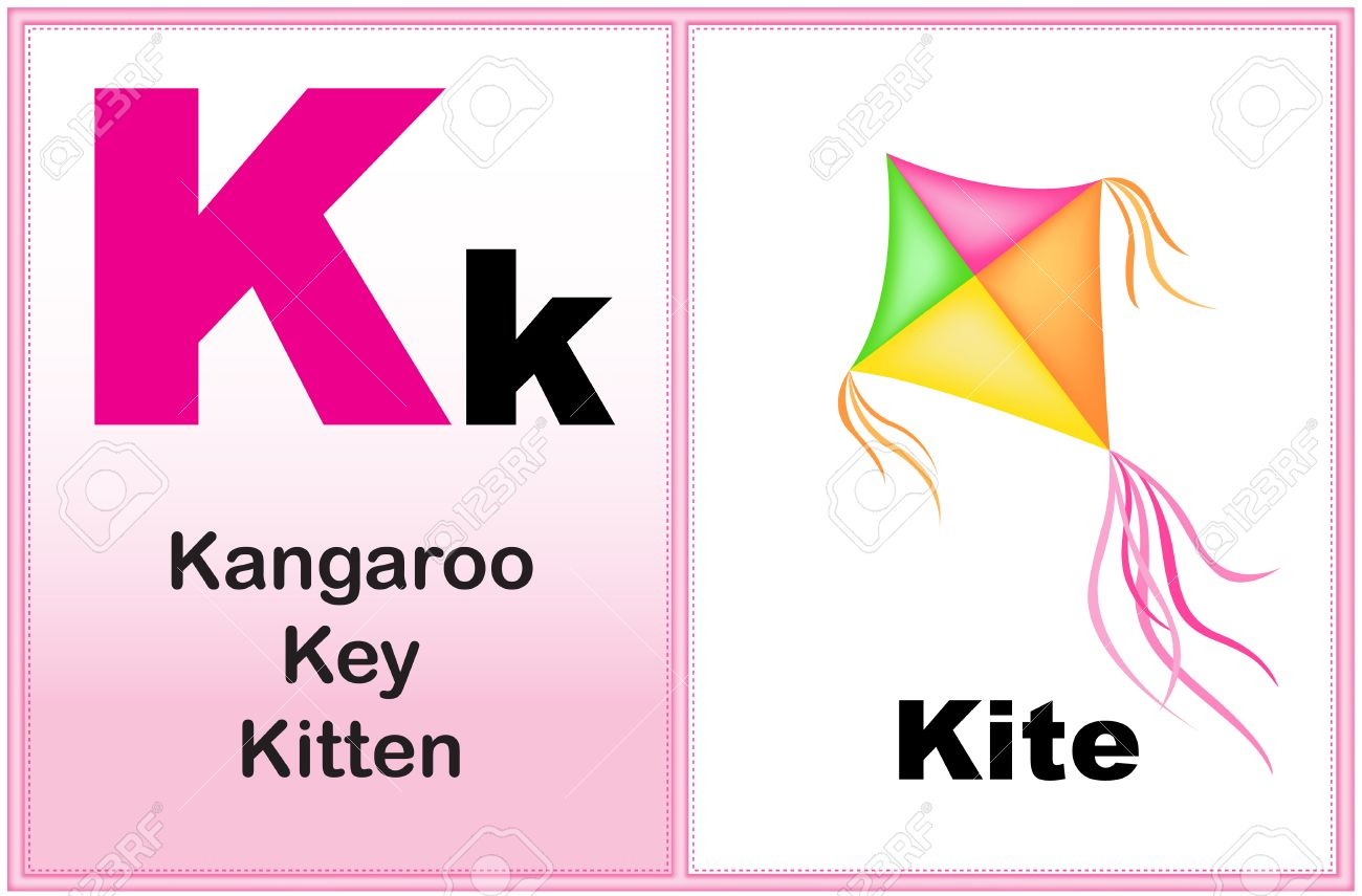 Alphabet Letter K With Clip Art And Few Similar Words Starting