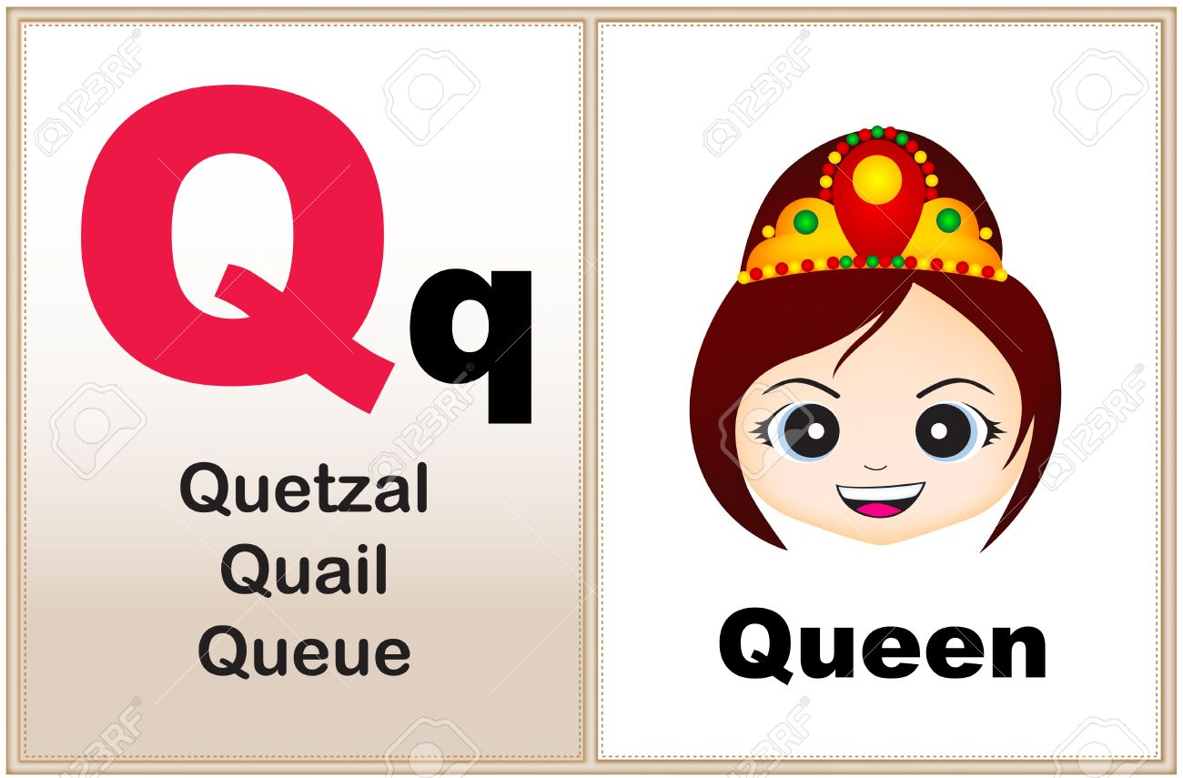 image relating to Letter Q Printable referred to as Alphabet letter Q with clip-artwork and couple equivalent phrases commencing..