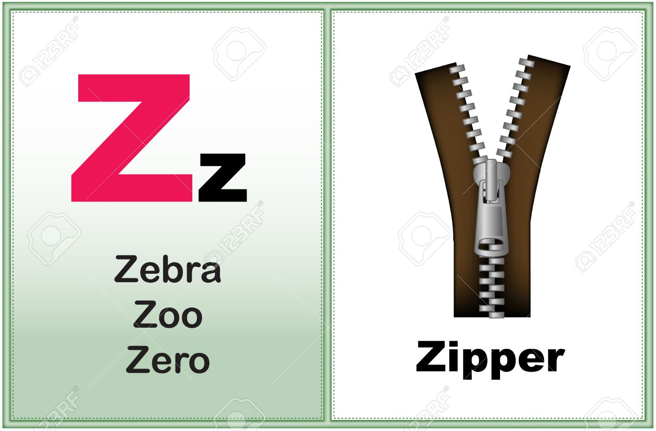 alphabet letter z with clip-art and few similar words starting