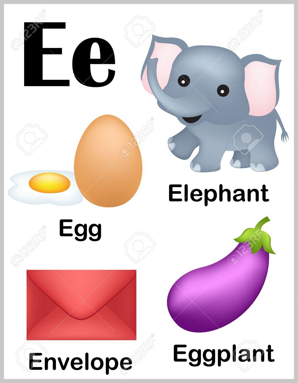 Cute and colorful alphabet letter e with set of illustrations cute and colorful alphabet letter e with set of illustrations and words printable sheet stock altavistaventures Images
