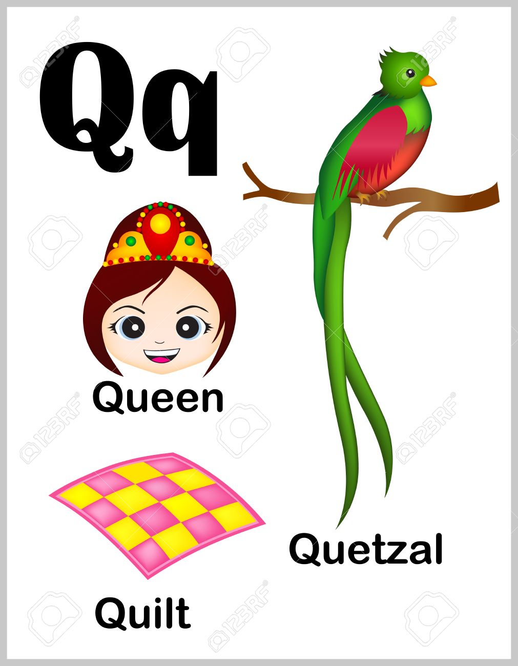 photo about Letter Q Printable titled Lovable and vibrant alphabet letter Q with preset of examples..