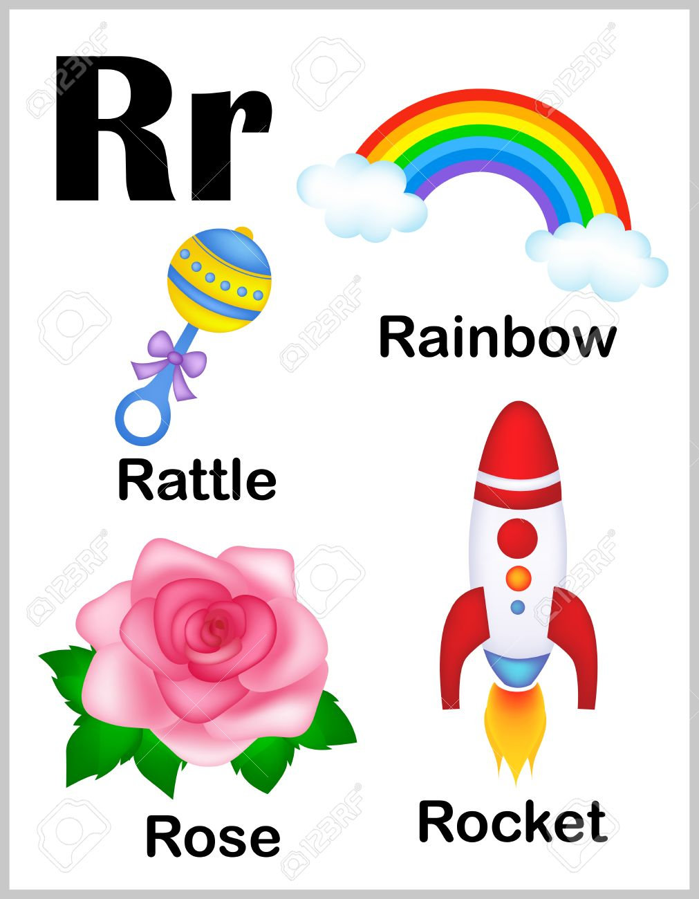 picture about Colorful Alphabet Letters Printable called Lovely and vibrant alphabet letter R with fastened of examples..