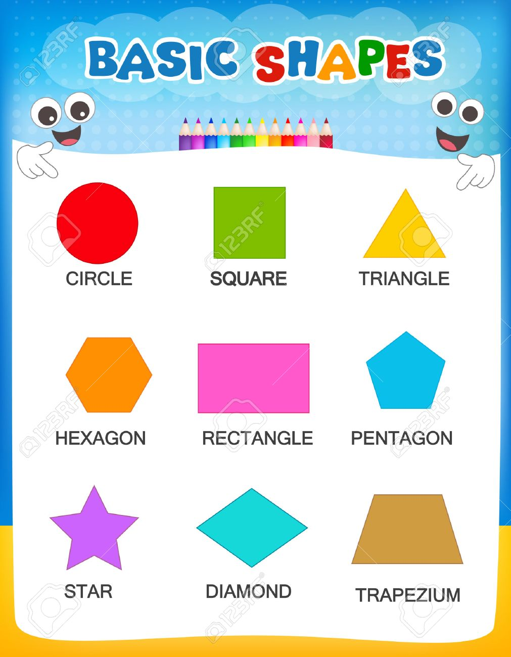 worksheet Shapes And Their Names collection of colorful geometric shapes and their names illustration isolated on white background for preschool