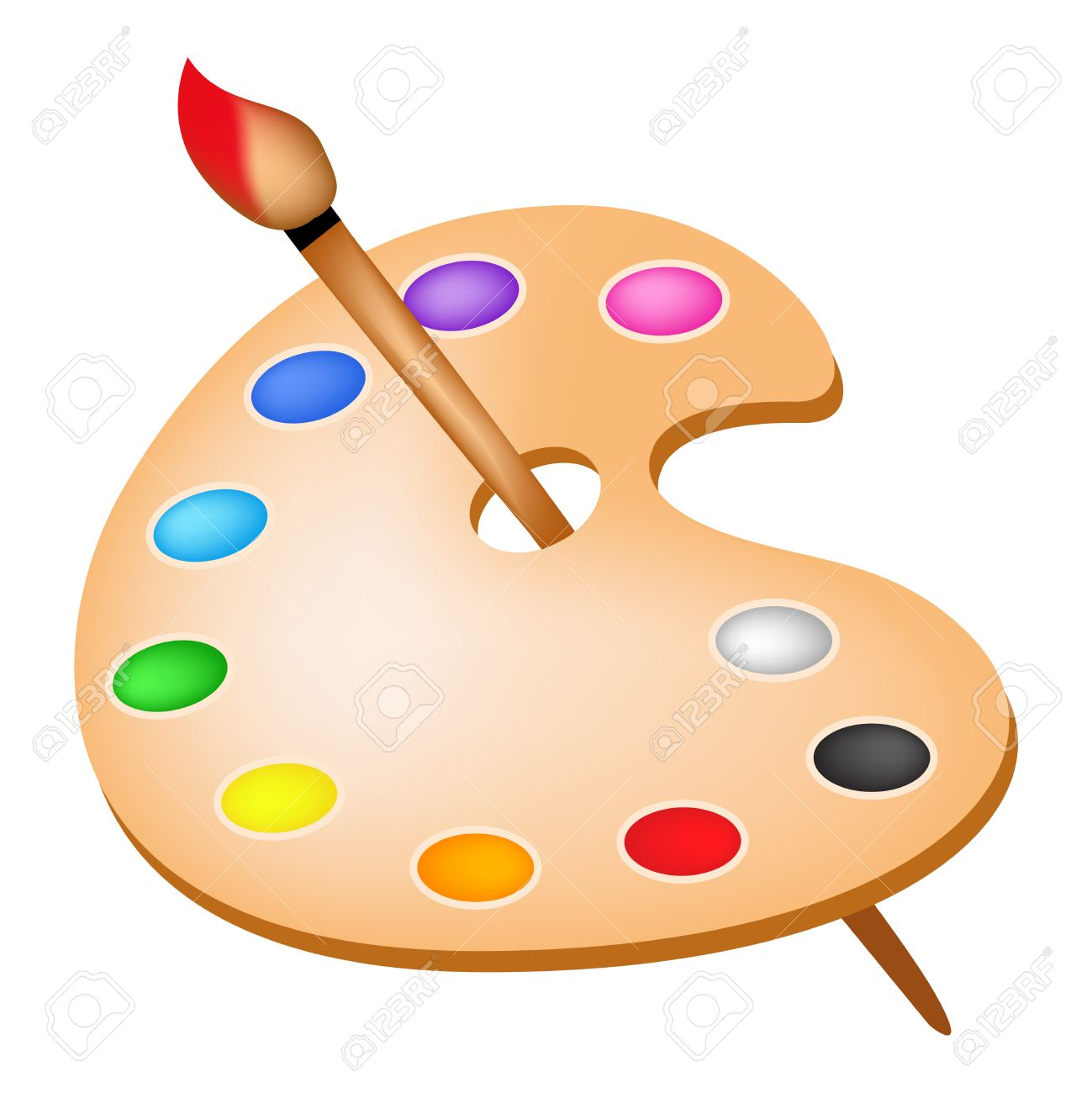 artists color palette with colors and paint brush illustration rh 123rf com  paintbrush and palette clipart