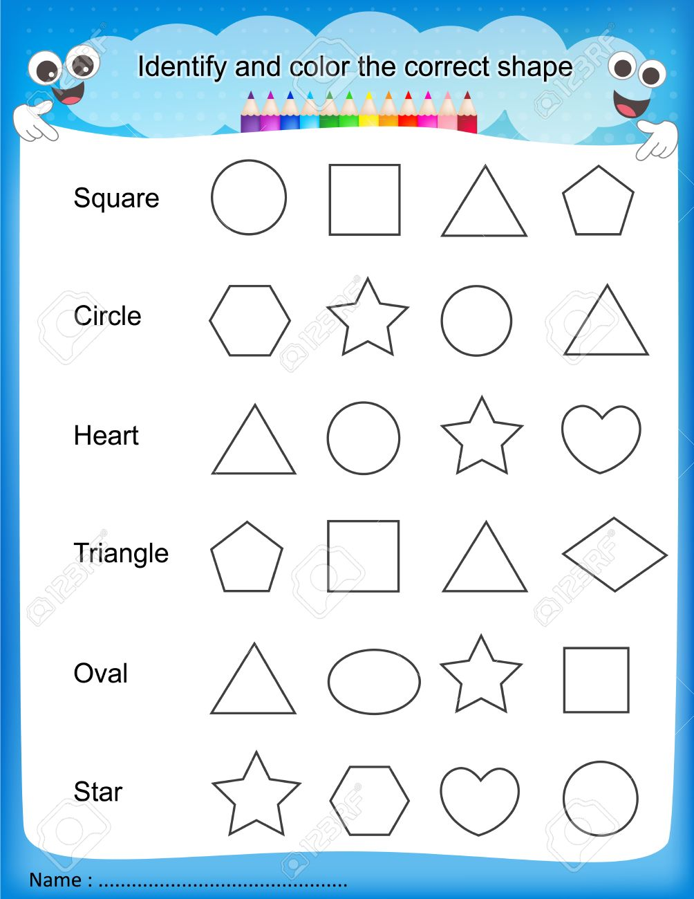math worksheet : identify and color the correct shape colorful printable kids  : Kindergarten Shapes Worksheets