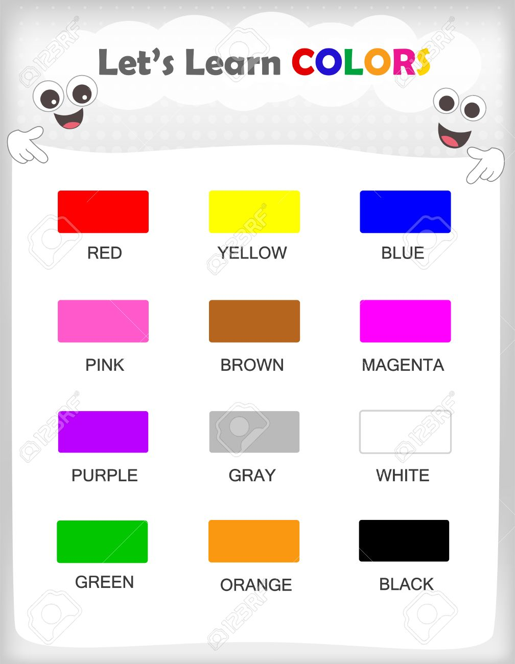 graphic regarding Printable Colors referred to as Printable little ones studying sheet with 12substitute hues and their..