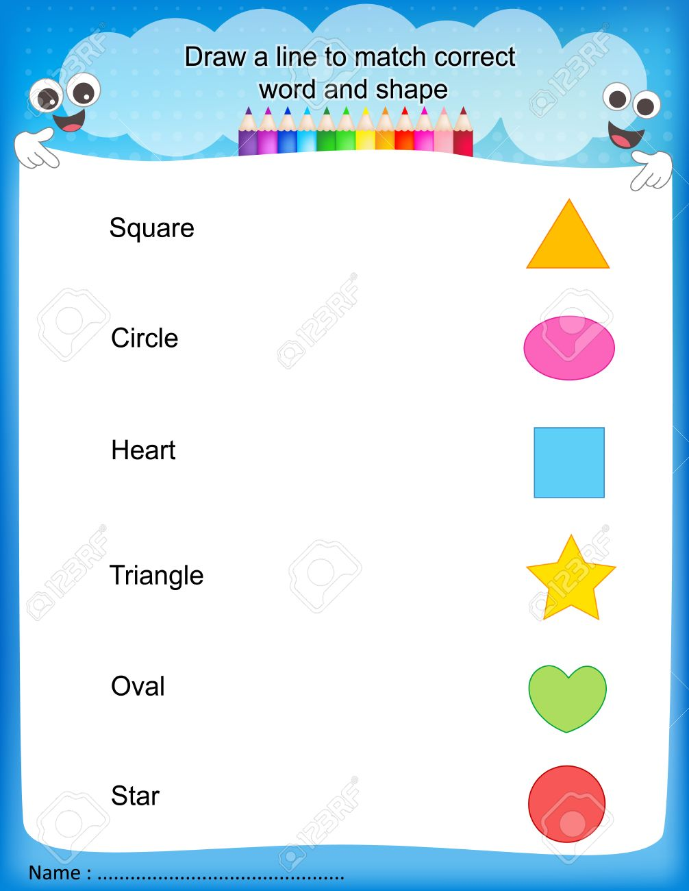 Draw A Line To Match Correct Word And Shape Colorful Printable ...